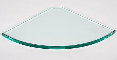 250mm x 250mm 8mm Toughened Glass Shower Shelf Round Corner with clamps.