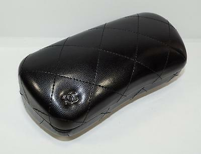NEW AUTH CHANEL Quilted Black Leather Hard Large SUNGLASSES GLASSES CASE - ITALY