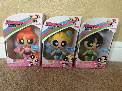 The Powerpuff Girls NIB Set Of 3 Deluxe Dolls Figures BLOSSOM BUBBLES BUTTERCUP
