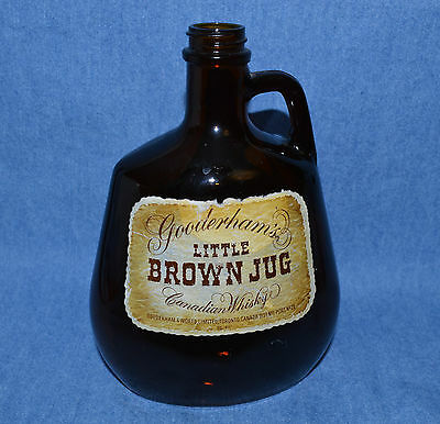 "VINTAGE GOODERHAM'S GLASS -  ""LITTLE BROWN JUG"" HELD 25 oz OF CANADIAN WHISKYE"