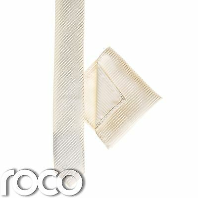 Boys Ivory Pocket Square, Boys Ivory Tie, Striped Tie, Boys Skinny Tie