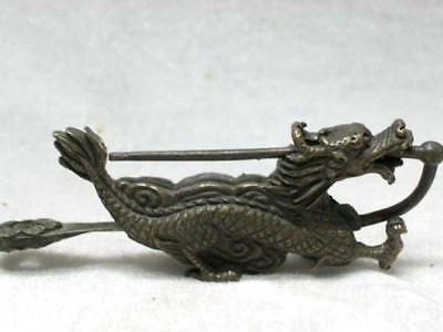 China's rare old brass sculpture can use Long Suo and keys 4 x 2 inch