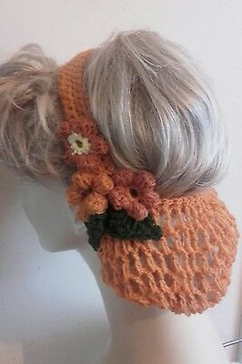 Vintage style 1940's handmade hair snood wartime ww2 Victorian orange