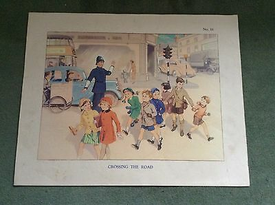 Vintage Macmillan School Poster Crossing The Road With Policeman 1950's