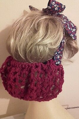 Vintage style 1940's handmade hair snood wartime ww2 hair net fabric tie