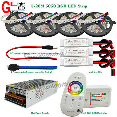 DC12V 5M-25M 5050 RGB LED Flexible Strip Light+2.4G Controller Remote+Amplifier