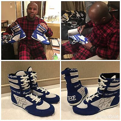 Floyd Mayweather TMT Signed Boot Photo Proof Exclusive Signing