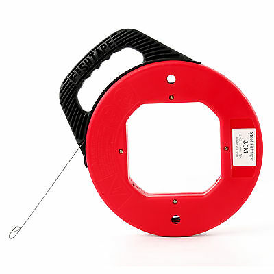 100 Ft Fish Tape Electrician Reel Pull Wires Cable Steel Hand Puller ATE Tools