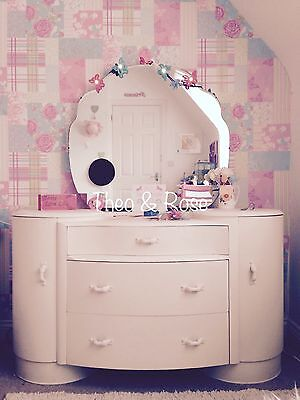 ART DECO Painted DRESSING TABLE White with Original Mirror VINTAGE Rate style