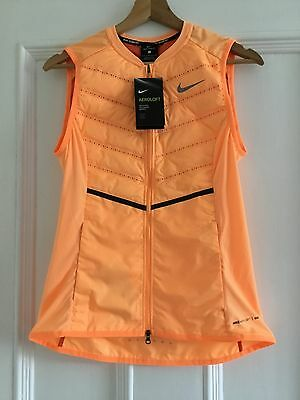 NIKE Womens Aeroloft 800 Lightweight Gilet Running Size Small in Light Orange