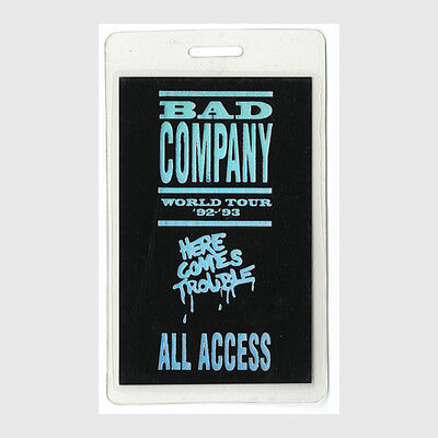 Bad Company authentic 1992 Laminated Backstage Pass Here Comes Trouble Tour