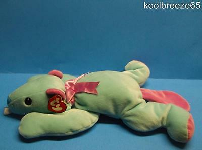 """Ty Pillow Pals Chewy Blue Pink Beaver 17"""" Hang Tag Bow Soft Plush Toy Sewn Eyes"""