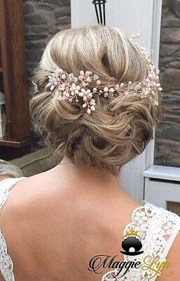 Rose gold blush pink ivory Bridal hairvine, headpiece, Swarovski pearls Wedding