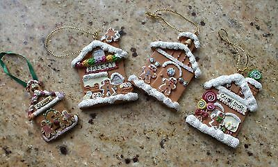 Gingerbread Village Christmas Tree Ornament Set Church School Bakery Candy Store