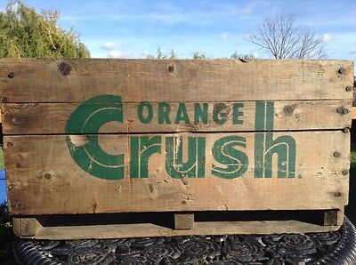 """1960's Green Lettering """"ORANGE CRUSH"""" 4 Sectioned Wood Crate"""