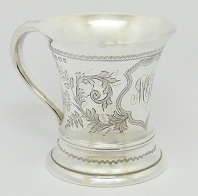 BEAUTIFUL EDWARDIAN SOLID STERLING SILVER CHRISTENING MUG CUP HM 1905 HEAVY 143g