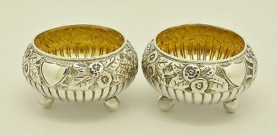 Gorgeous Pair Of Antique Victorian Era Solid Silver Salts Hm 1890 Art Nouveau