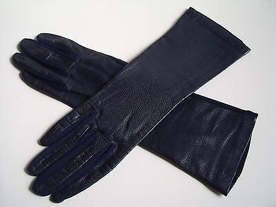 Vintage Fownes Navy Leather Backed Long Gloves Size 7-7.5