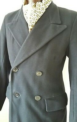 Vintage Bespoke 1940s CC41 Navy Heavy Wool Full Length Overcoat 36/38 reg/long