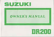 Suzuki DR200 1987 genuine owners manual 99011-42A33-01B