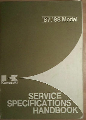 Genuine Kawasaki 87-88 Service Specification Handbook