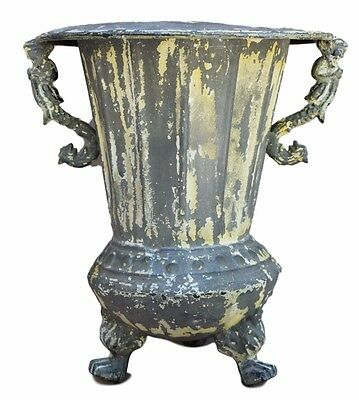 French Victorian Zinc Planter - Antique Painted Zinc Mermaid Garden Medicis Urn