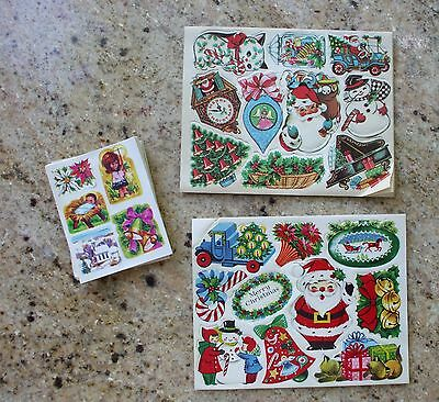 Vintage Christmas Stickers 1950s Santa Kitty Clock Snowman Truck Tree Fab