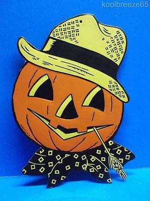 Vintage Luhrs Halloween Pumpkin Head Straw Diecut Decoration Embossed 1940's