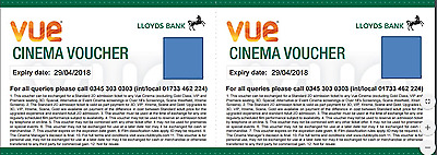 2 (Two) Vue Cinema Tickets / Vouchers (May 2018 Expiry) - CAN BE USED IN LONDON!