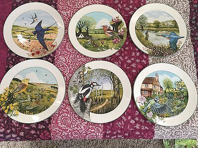 Royal Doulton Birds Of The British Countryside Kenneth J Wood Set Of 6 Plates