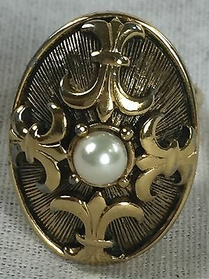 Vintage Luzier Gold tone w/ Pearl Perfume Ring adjustable size Estate Find!