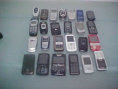 LOT OF 25 USED OLD CELL PHONES FOR SCRAP GOLD RECOVERY Or Parts