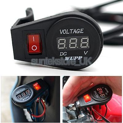 Motorcycle Waterproof Red LED Digital Voltmeter Socket Switch DC 12Volt
