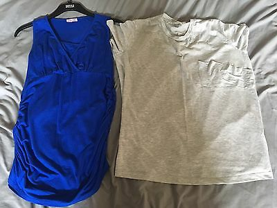 2 Size 16 Maternity Nursing Tops ASOS Grey Tshirt And Blue Top Pull Down