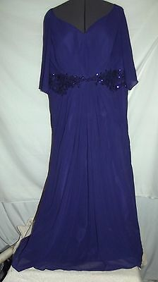 NWT PURPLE beaded evening dress mother of the bride formal  SZ 12 14 bust 43.5