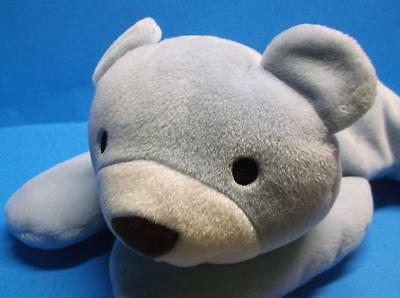 """Ty Pillow Pals HUGGY Blue Bear Bow Soft Plush Toy Sewn Eyes 1994 Baby 13"""""""