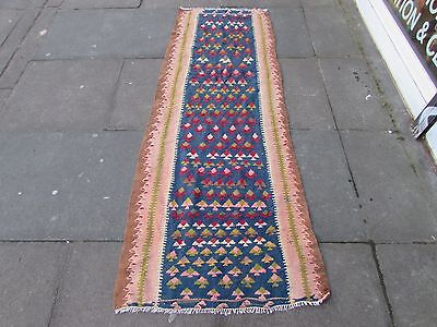 Old Traditional Hand Made Persian Oriental Wool Blue Pink kilim Runner 260x77cm