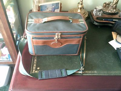 Vanity Case, Zipped, Shoulder Strap & Vanity Mirror, By Anucci Green & Brown