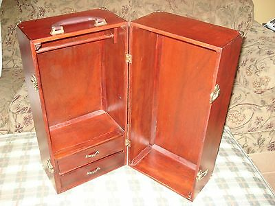 """American Girl 20"""" Wood Wardrobe Carry Case Armoire Trunk Cabinet Closet Retired"""