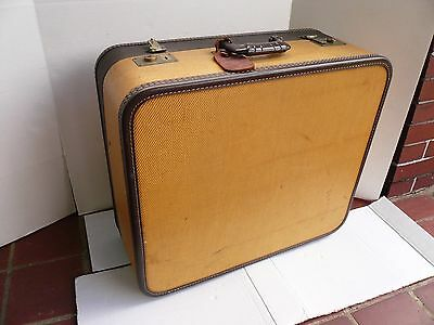 "Vintage 2-Tone Mcm Suitcase Straw Color ""Tweed"" & Brown Hard Sided Luggage Nice"