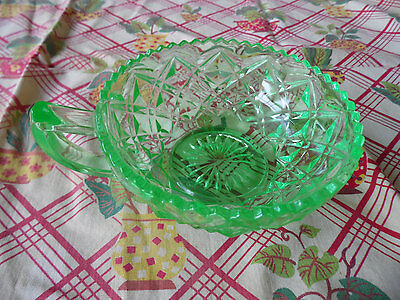 Uranium Glass Nappy Bowl, Small Vaseline Depression Glass Bowl or Dish, GLOWS!!