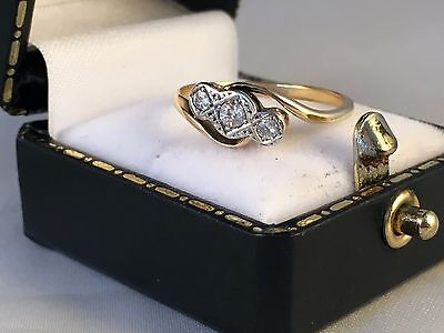 LOVELY 18ct Yellow Gold & Platinum Art Deco Diamond Trilogy Ring SIZE N