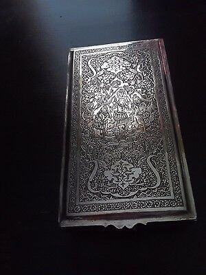 Antique Solid 84 Silver Persian Middle Eastern Islamic Cigarette Trinket Box