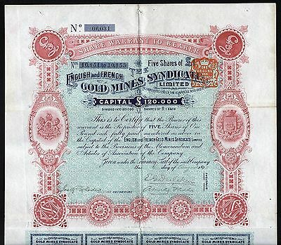 1895 South Africa: The English and French Gold Mines Syndicate