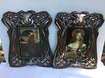Vintage Pair Of Copper Art Nouveau Arts & Crafts Photo Frames