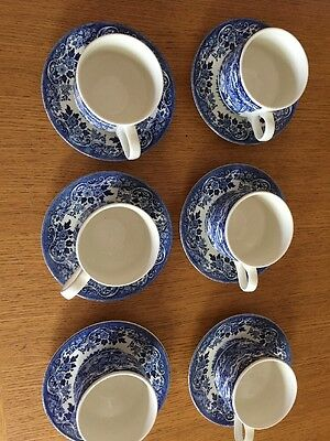 Broadhurst England Blue And White 6 Tea Cups And Saucers Castle Cottage Scene