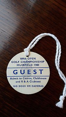 Open Golf Championship 1980 Guest Badge played at Muirfield