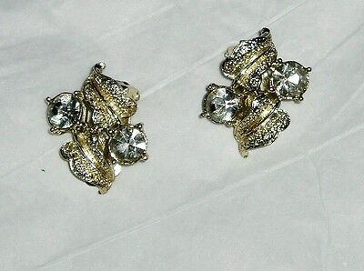 vintage clip on earrings gold tone cluster style with rhinestones