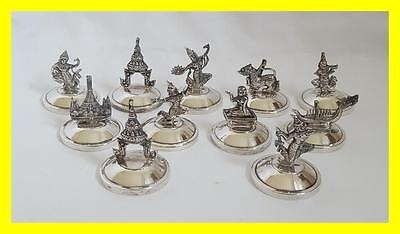 C1940 Set Of 11 Sterling Silver Siam Place Card/menu Holders,500 Grams Weight
