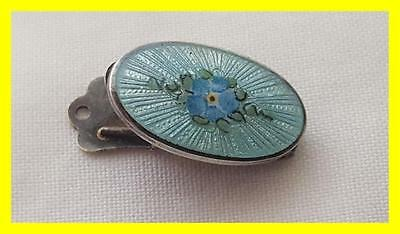 Beautiful 1920's Sterling Silver Enamel Forget Me Not Napkin Clip/holder